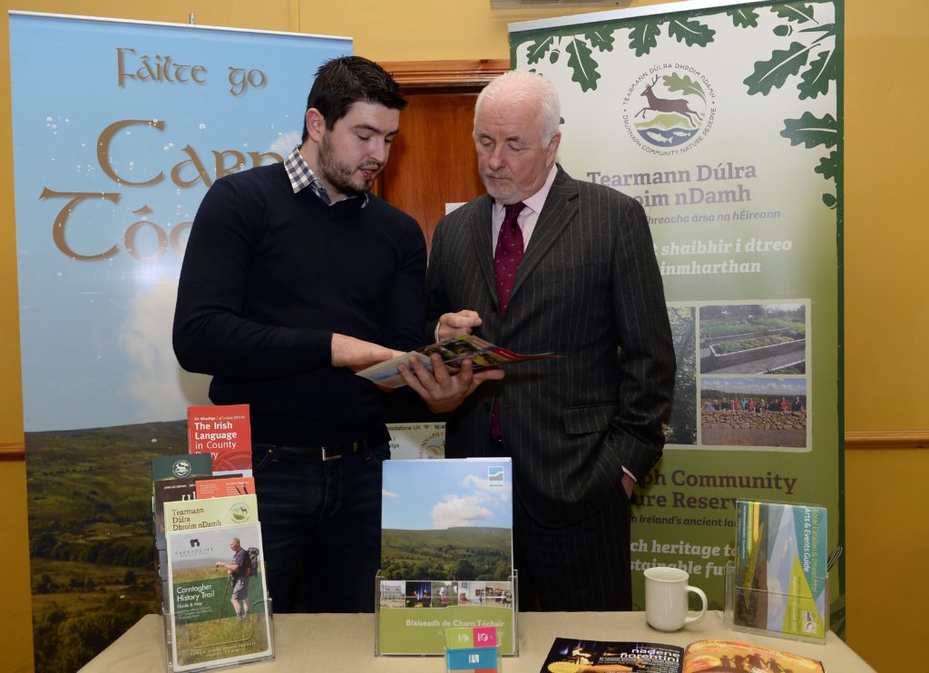 13th October 2015 Terence Brannigan, Tourism NI chairman, right, along with Dairmuid Mulholland , An Carn community centre, during the launch oft he Cycle Sperrins Consortium, which is made up of speciality food producers, farm businesses, tearooms and quality accommodation providers based along the world-class four day cycle route, welcomes Tourism NI chairman, Terence Brannigan, to officially launch Cycle Sperrins. Picture Oliver McVeigh  .