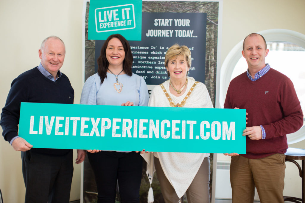 Left to Right: Mervyn Whyte MBE of North West 200, Eleanor Mc Gillie Director of Live It Experience It, Alderman Maura Hickey Mayor of the Causeway Coast and Glens Borough Council, Fergus Mackey of North West 200 at Live It Experience It Launch today. 'Live It Experience It' is a cluster of tourism businesses working together to promote Northern Ireland through water, air and land based activities, food and drink and great places to stay.