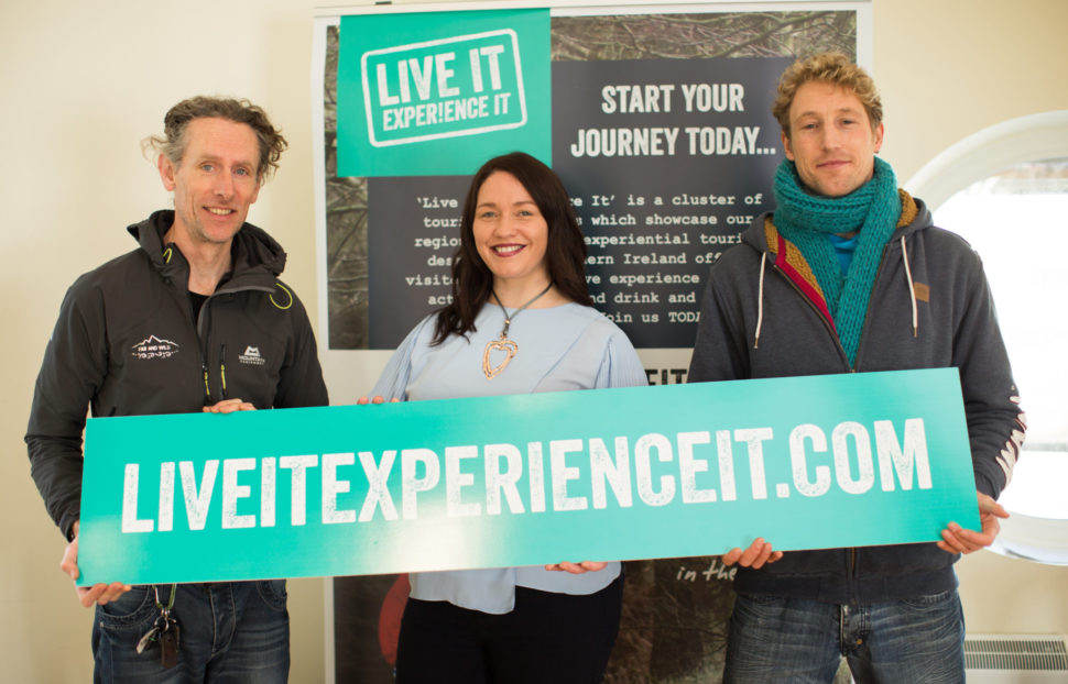 Left to Right: Lawrence McBride Far and Wild, Eleanor McGillie Director Live It Experience It, Hanno Windish Alive Surf School. 'Live It Experience It' is a cluster of tourism businesses working together to promote Northern Ireland through water, air and land based activities, food and drink and great places to stay.