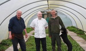 Gardener Frank McCooke with Slemish Market Supper Club Chef Rob Curley and Frank's son Matthew. IMG_0808