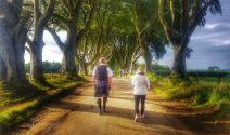 Mark Rodgers with a guest at The Dark Hedges - visit Northern Ireland - IMG-6300