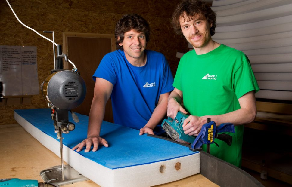 Ricky Martin, left, and his brother Chris, right, owners of The Skunkworks Surfboard Co - JJ-5345