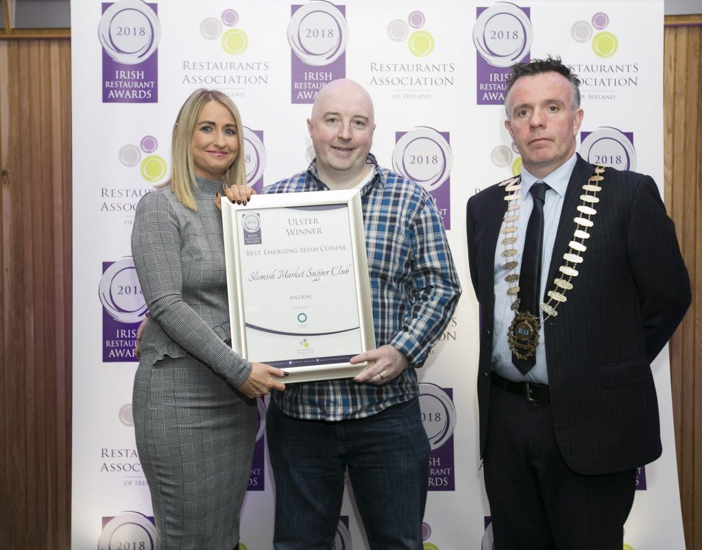 Chef Robert Curley picking up his award at the irish Restaurant Awards Ulster Regional Finals 2018