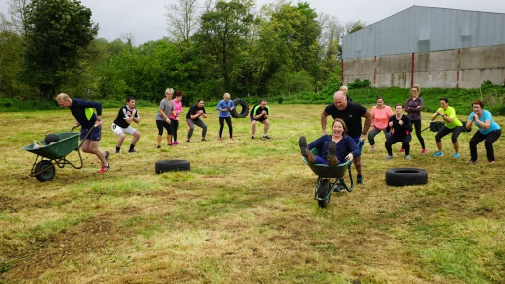 Farm Fit Camp Northern Ireland - Wheelbarrow races in Eglish at the Go Fitness NI fit Farm Camp