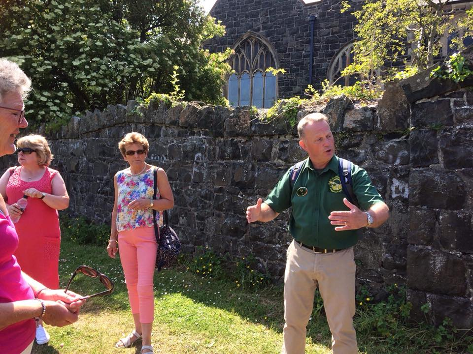 Ray Boal, a tour guide with Dalriada Kingdom Tours taking visitors to Northern Ireland on a heritage walking tour of Coleraine