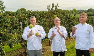 From left, Head Chef John White from the Armagh City Hotel, Head chef Mervyn Steenson from Groucho's and Sous Chef Mark Winter from the Lough Erne Resort at the launch of the Richhill Apple Harvest Fayre