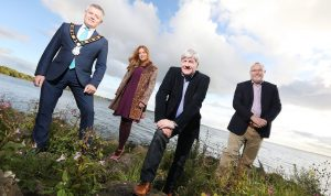 Mayor of Antrim and Newtownabbey, Councillor Paul Michael, with Orlagh Bann and Joe Mahon of Westway Films and Gerry Darby of Lough Neagh Partnership launching a new UTV series 'Lough Neagh' which begins on Monday 17 September at 8pm.