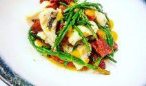 'A Dish From Dean' - Cod cheek, Chorizo and buttered Samphire