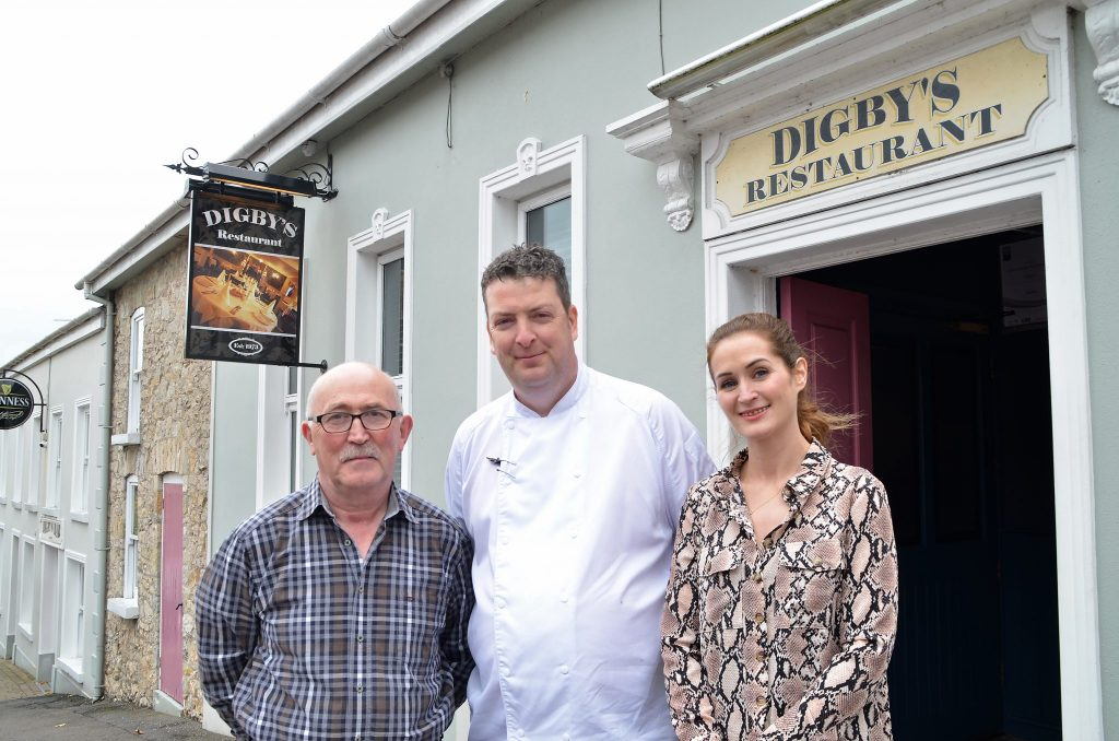 From left, Michael Macklin, owner of Digby's Bar and Restaurant, Head Chef Kevin Crossan and Claire Macklin, bar and restaurant manager. Digby's Bar and Restaurant is a Live It Experience It member