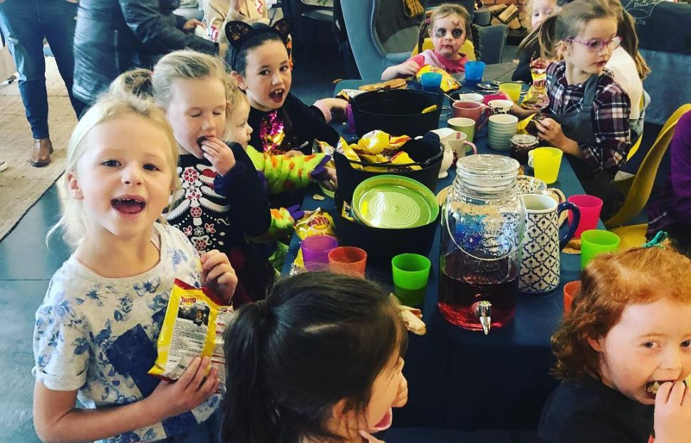 Children having fun at a slime making workshop at Bumble & Blue