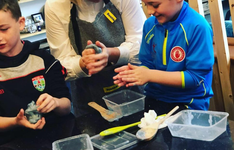 Gemma Donnelly of Bumble & Blue with slime makers during a workshop