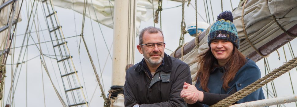 Eleanor McGillie with Paul Gibson of the Silvery Light Sailing Company